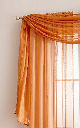 """Amazing Sheer Window Scarf Fabric Sheer Voile curtain for Window Treatment - Add to Window Curtains for Enhanced Effect (56""""x144"""", Orange)"""