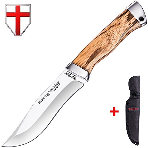 Cordura Fighting Knife (Large Fixed Blade Hunting Knife - Fix Knife with Wood Handle 440C Stainless Steel Blade - Best for Camping, Fishing, Survival and Rescue - Super Gifts for Him - Grand Way 2266 FW)
