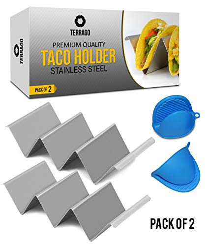 - Taco Holder Pack of 2 Stainless Steel Grade 304 Taco Holders for Hotel Cutlery - Elegant & Easy to Grip - Best Kitchen Accessory Taco Serving Tray with FREE Silicone Mittens