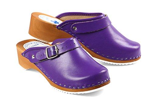 CLOGS Pantolette Sandalette Holz + Leder Holzschuhe LILA