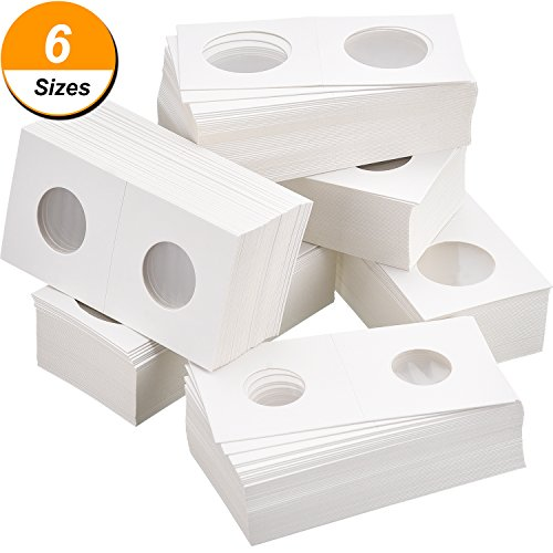 Hicarer 300 Pieces Cardboard Coin Holder Flip Mega Assortment, 2 by 2 Inch for Coin Collection Supplies (6 Sizes) Cardboard Coin