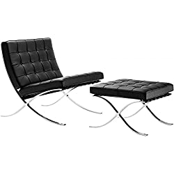 Mid Century Modern Classic Barcelona Style Replica Premium Lounge Chair & Ottoman With Black PU Leather and Stainless Steel Frame
