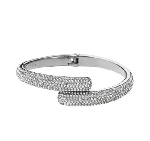 Michael Kors Silver Tone with Clear Crystal Pave Bypass Cuff Bracelet MKJ3668
