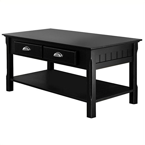 Pemberly Row Solid Wood Coffee Table in Black