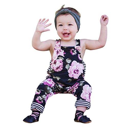 Yellow Black Stripe Shirt (Goodlock Newborn Kids Fashion Clothes Set Baby Girls Floral Stripe Romper Jumpsuit Trousers Summer Outfits Set 2Pcs (Size:6M))