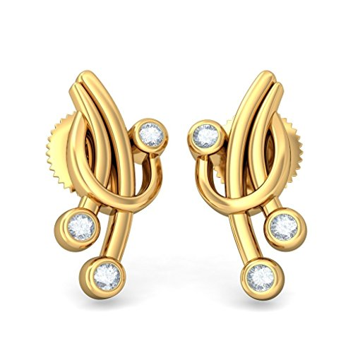 Or jaune 14 K 0,06 CT TW White-diamond (IJ | SI) Boucles d'oreille à tige