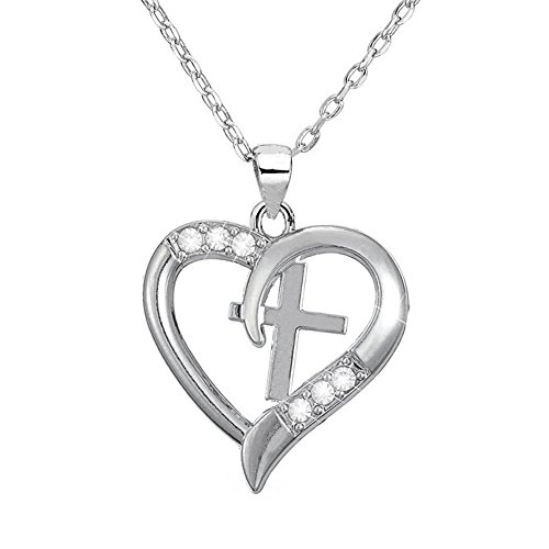 Silver Christian Cross Heart Pendant I Love Jesus Necklace ,Jewelry with a Luxury Gift Bag for Easy Gift Giving Womans Necklace Birthdays Gifts For Women Gifts For Girls .925 Sterling Silver