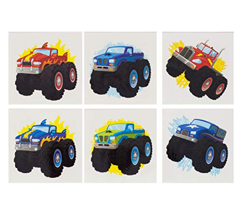 Monster Truck Tattoos - 144 Pack Of Temporary Tattoos of Monster Trucks - Great For Boys Birthday Party Favors, Classrooms, Favor & Goodie Bags, Other Party Supplies - Safe, Non-Toxic, Easy To Remove]()