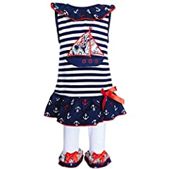 AnnLoren Original Sailor Tunic and Capri legging set. Blue and White striped jersey knit tunic with embroidered Sailboat patch. Anchors ruffled trim around neckline and at the bottom of the Tunic. Cotton knit pants with coordinating ruffles a...