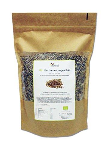 my-mosaik Bio Hanfsamen ungeschält aus kontrolliert biologischem Anbau (1000g), nährstoffreich und vegan, Low Carb, zum Kochen und Backen, natürliche Protein-und Eiweißquelle, essentielle ungesättigte Omega-3- und Omega-6-Fettsäuren
