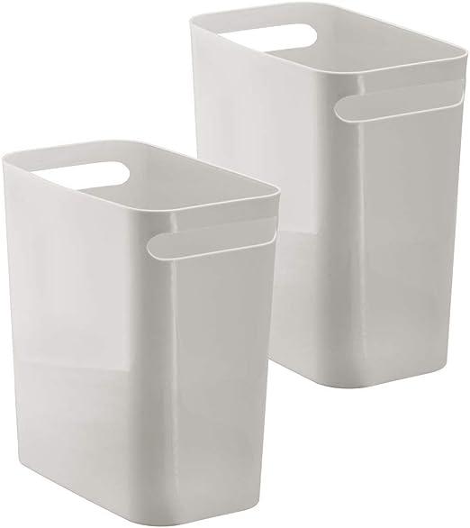 ba/ño y oficina iDesign Cubo de basura con asas moderna papelera de cocina blanco papelera peque/ña de pl/ástico para residuos