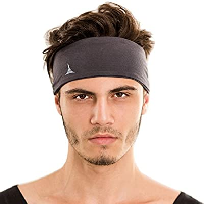 """Sporty Touch 4"""" Wide Men Headband / Sweatband Best for Sports, Running, Workout, Yoga + Elastic Hair Band - Ultimate Athletic Performance"""