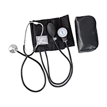 HealthSmart Home Blood Pressure Kit with Manual Sphygmomanometer, Stethoscope and Carrying Case, Large Adult Cuff, 13 to 17 inches, Black