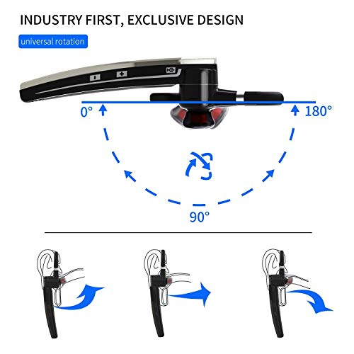 Bluetooth Headset HonShoop Bluetooth 5.0 in Ear Bluetooth Earpiece Wireless Headphones Noise Reduction Earphones with Mic for Business/Workout/Driving (Black)
