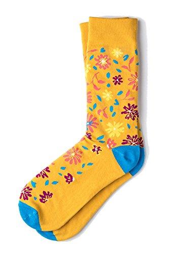 (Men's Funky Hipster Floral Flowers Crew Dress Socks)
