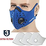 MoHo Dust Mask, Upgrade Version Activated Carbon Dustproof Mask Windproof Foggy Haze Anti-Dust Mask Motorcycle Bicycle Cycling Ski Half Face Mask for Outdoor Activities (Blue+3 Extra Filters)