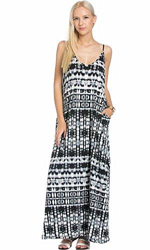 Tie Dye Camisole Dress (My space Clothing Women's Tie-Dyed Jersey Spaghetti Summer Maxi Dress (Medium, Black/Grey))