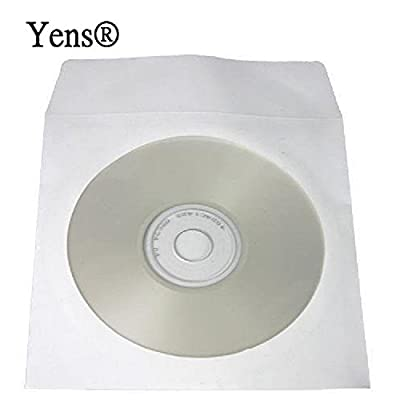 Yens® 100Pk 1000Pk 2000Pk CD DVD Paper Sleeves Envelopes with Flap and Clear Window (80g, 100g , White Color) by Yens®