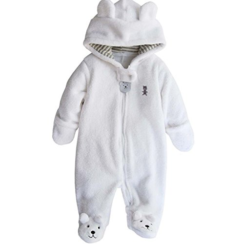 Baby Boy Girl Bodysuit Hooded Fleece Romper Infant Warm Onesies 3-12M White ()