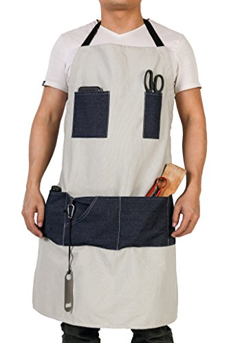 Waterproof Waxed Canvas Workshop Apron Featuring 7 Denim Pockets & Extra Free Corkscrew Attached Best Tool Apron for Men Women HSW-087-US by Hersent