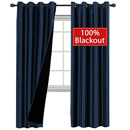 H.VERSAILTEX 100% Blackout Solid Navy Curtains Faux Silk Grommet Full Light Blocking Drapes with Black Liner for Nursery/Bedroom, Privacy Assured Window Treatment (Pack of 2, 52