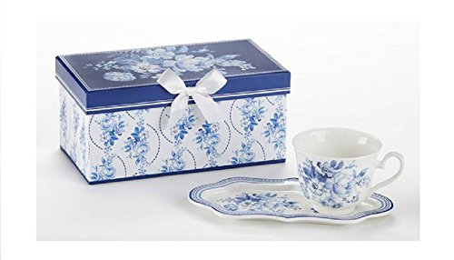 Delton Products English Blue 4.2 inches x 9 inches Porcelain Tea & Toast Set in Gift Box Drinkware ()