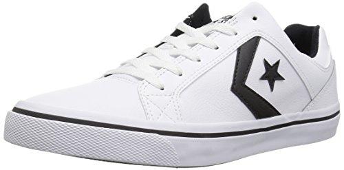 - Converse EL Distrito Leather Low Top Sneaker, White/Black/White, 10 M US