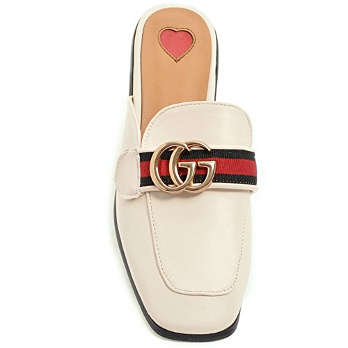 Low Slippers 9 Square Loafers Toe Backless Women's Beige Cicime Slide Mules Slip Heel Black On PwxAF8qU