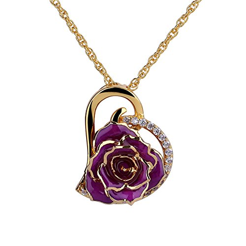 ZJchao 24K Gold Plated Rhinestone Heart Shaped Purple Rose Pendant Necklace for (24k Purple Pendant)