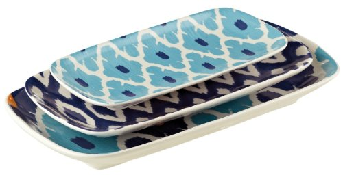Grasslands Road Ceramic Ikat Nested Plates, 12-Inch, Two Set