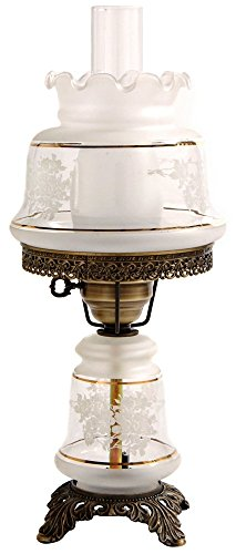 Small Etched White and Gold Night Light Hurricane Table (Gold Hurricane Lamp)