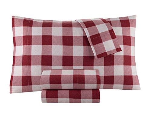 Flannel Sheet Set by DELANNA 100% Cotton (Queen, Buffalo Check Red) (Check Bed Sheets)