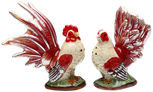 (Multicolored Rooster Themed Floral Base Salt and Pepper Shaker Set)