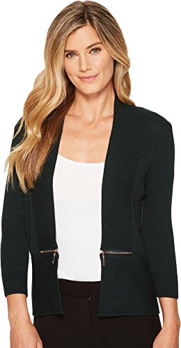 Ivanka Trump Womens Side Zipper Cardigan Emerald LG One Size Trim Open Cardigan
