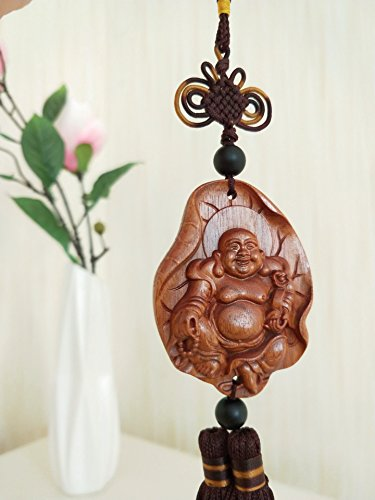 TIYANA Chinese Wood Carving & Buddha Beads Chinese Halloween Gifts Statue Sculpture Amulet Car Pendant Netsuke, 1 PC, Smiling Maitreya in Lotus Leaf ()