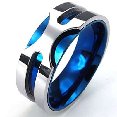 KONOV Jewelry Mens Stainless Steel Ring, 8mm Classic Band, Blue Silver