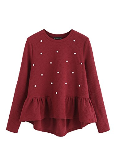 SheIn Women's Loose Round Neck Raglan Long Sleeve Ruffle High Low Hem Smock Top Beaded Red X-Small