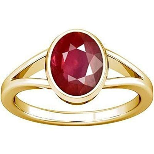 Divya Shakti 5.25-5.50 Carats Ruby Ring (Maanik/Manikya Stone Panchadhatu Ring) 100% Original AAA Quality Gemstone (Carats Ruby Sapphire Beads)