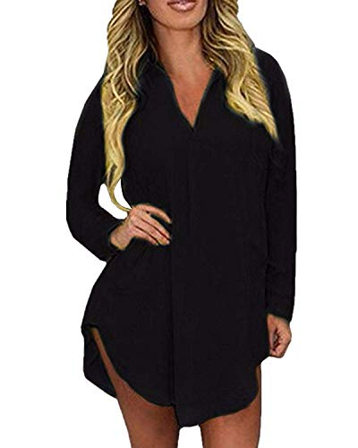 Natural and Graceful Women Sexy V-Neck Long Sleeve Button Down 4 Colors Dress Shirts Attractive,8,Black