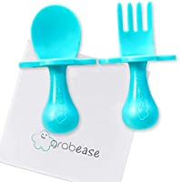 Grabease First Training Self Feed Baby Utensils – Anti-Choke, BPA-Free Baby Spoon and Fork Toddler Utensils with Pouch...