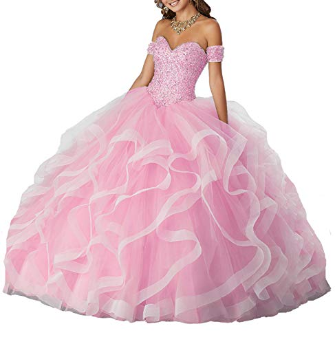 Yisha Bello Women's Off The Shoulder Crystal Beaded Organza Ruffles Prom Ball Gowns Sweetheart Quinceanera Dresses 2