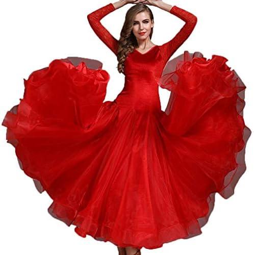 社交ダンスドレス女性パフォーマンススーツレースのステッチ大振幅