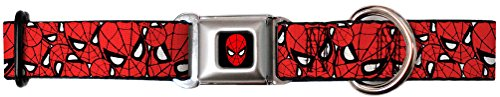 Spiderman Faces Red Seatbelt Dog Collar- Small 9-15