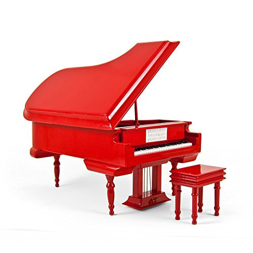 Swan Bench - Sophisticated 18 Note Miniature Musical Hi-Gloss Fire Engine Red Grand Piano with Bench - Swan Lake