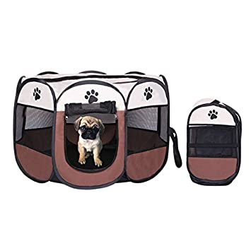 Parque Mascota de Juego Entrenamiento Dormitorio Conejo Octágono Plegable Lavable Durable 73x 73x 43 CM (73*73*43CM, café): Amazon.es: Hogar