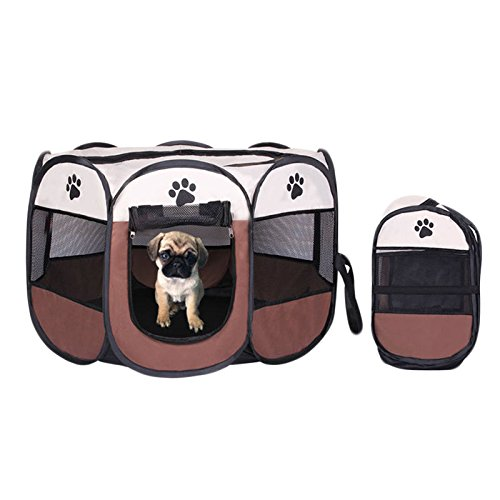 Portable Foldable Pet Playpen,Pet Puppy Dog Playpen Exercise Pen Kennel,Removable Mesh Shade Cover, dog pop up silhouettes pet pen (35.8″ x 35.8″ x 22.8″, brown) Review