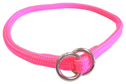 Hamilton 5/16 Inch x 16 Inch Round Braided Choke Nylon Dog Collar, Hot Pink (827 HP) by Hamilton