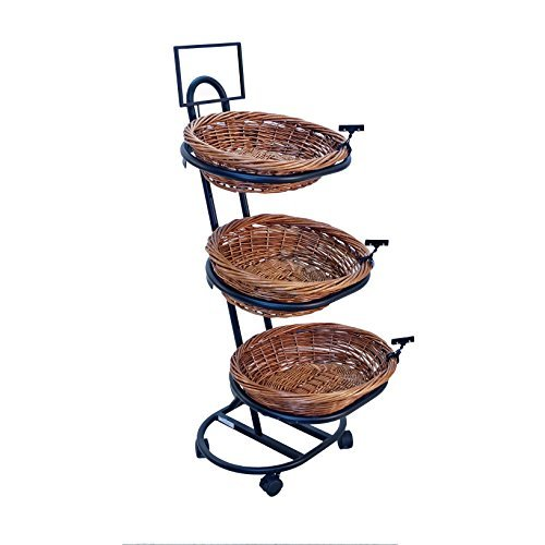 3-Tier 3 Oval Willow Basket Display with Sign Frame and Sign Clips by Mobile Merchandisers
