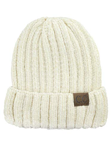 C.C Unisex Chenille Soft Warm Stretchy Thick Cuffed Knit Beanie Cap Hat-Ivory