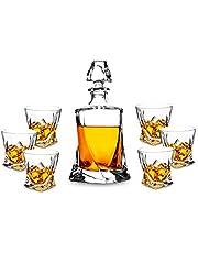 KANARS 7-teiliges Whisky Karaffe Set, Bleifrei Kristallgläser, 800ml Whiskey Dekanter mit 6x 300ml Gläser, Hochwertig, Schöne Geschenk Box